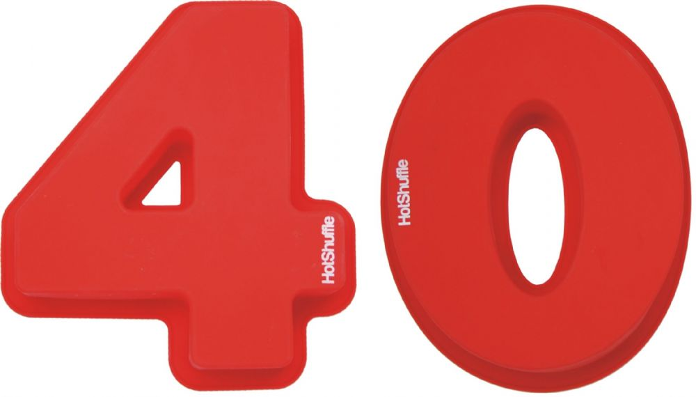 Large 30cm Silicone Number 40 40th Birthday Ruby Wedding Anniversary Cake Mould Tin Set